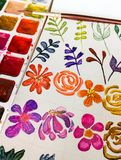 Photo with watercolor flowers and plants and and paint with a brush royalty free stock image