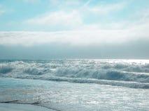 Blue Colored Santa Cruz Ocean Waves. This photo of waves was taken in Santa Cruz Beach California royalty free stock photos