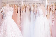 Wedding dresses at the exhibition. Photo of wedding dresses at the exhibition Stock Photography