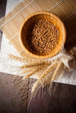 Photo of wheat bundle and sprouts. Wheat harvest, photo with copy space Royalty Free Stock Photo