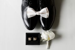 The essential details for a groom stock images