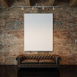 Photo of white empty canvas on the natural brick Stock Image