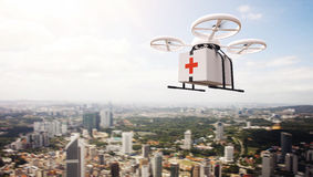 Photo White Generic Design Remote Control Air Drone Flying Sky Medical Box Under Urban Surface.Modern City Background royalty free stock photography