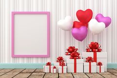 White gift box with balloon heart sharp. A photo of White gift box with balloon heart sharp and Blank wood board for copy space, 3D renderring with blender Royalty Free Stock Photos