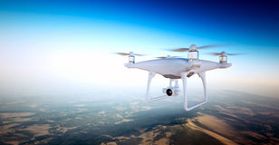 Photo White Matte Generic Design Air Drone with action camera Flying Sky under Earth Surface.Uninhabited Desert Royalty Free Stock Photography