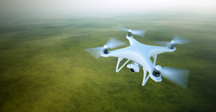 Photo White Matte Generic Design Air Drone with video camera Flying in Sky under the Earth Surface. Uninhabited Green Stock Photography