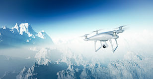 Photo White Matte Generic Design Modern RC Drone with camera Flying in Sky under the Earth Surface. Grand Canyon Royalty Free Stock Photography