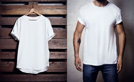 Photo of white tshirt hanging on wood background and bearded man wearing clear Tshirt. Vertical blank mockup