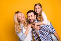 Free Photo Wife Beautiful Mother Lady Husband Dad Guy Couple Carry Little School Girl Daughter Piggyback Happy Together Play Stock Photos - 187562403