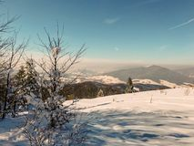 Winter landscape in Polish mountains royalty free stock photos