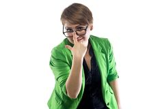 Photo of woman adjusts her glasses Stock Photography