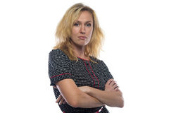Photo of woman with blond hair, arms crossed Royalty Free Stock Photos