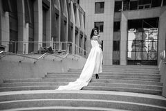 Photo of woman in dress with long veil walking on stairway Royalty Free Stock Photo
