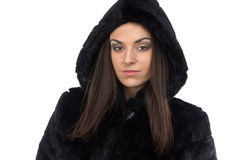 Photo of woman in fake fur coat with hood Royalty Free Stock Photos