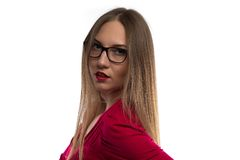 Photo of woman with glasses, half turned Stock Images