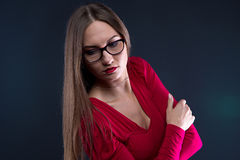 Photo of woman in glasses, leaned aside Royalty Free Stock Image