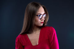 Photo of woman in glasses, looking away Royalty Free Stock Photography