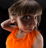 Photo of woman with hand near ear, fish eye Stock Photography