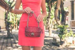 Photo of Woman Holding Red Bag royalty free stock photos