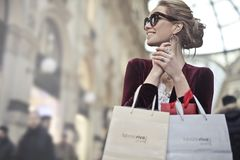 Photo of a Woman Holding Shopping Bags Stock Photo