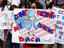 Dont Destroy my Dreams. Photo of woman holding up a sign supporting daca deferred action for childhood arrivals at the white house in washington dc on 9/9/17 royalty free stock photography