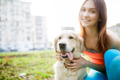 Photo of woman with labrador Stock Photo
