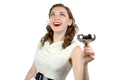 Photo of woman looking up with metal snifter Stock Photos