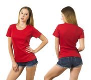 Young woman wearing blank red shirt. Photo of a woman posing with a blank red t-shirt ready for your artwork or design stock photo