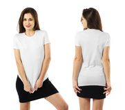 Woman wearing blank white shirt and black skirt. Photo of a woman posing with a blank white t-shirt ready for your artwork or design royalty free stock photography
