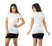 Woman wearing blank white shirt and black skirt Royalty Free Stock Images