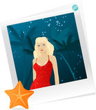 Photo with woman in red dress. One pinned photo with woman at night tropical back Royalty Free Stock Photo