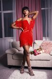 Photo of Woman in Red Fringe Mini Dress royalty free stock photos