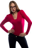 Photo of woman in red leaned aside Stock Photo
