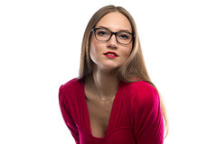 Photo of woman in red leaned forward Stock Photo