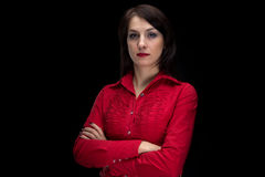 Photo of woman in red shirt with arms crossed Royalty Free Stock Photo