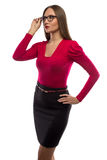 Photo of woman in red shirt touching glasses Stock Image