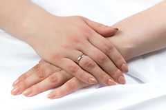 Photo of woman's hands crossed Royalty Free Stock Images