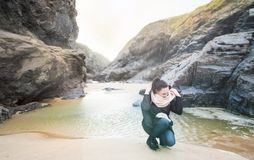 Photo of Woman at the Seashore stock image