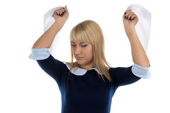 Photo of woman and sheets Royalty Free Stock Photo