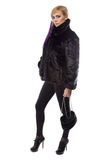 Photo of woman in short fur coat with handbag Stock Photography