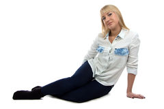 Photo of woman sitting on the floor Royalty Free Stock Photography