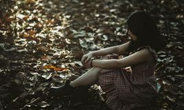Photo of a Woman Sitting on the Ground Covered with Dried Leaves Royalty Free Stock Photo