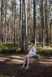 Photo of Woman Sitting on Swing royalty free stock photos