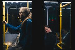 Photo of a Woman Standing Inside Bus Royalty Free Stock Photo
