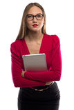 Photo of woman with tablet and arms crossed Royalty Free Stock Images