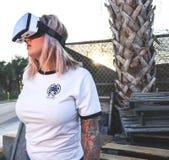 Photo of Woman Using Virtual Reality Headset Stock Image