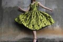 Photo of a Woman Wearing Green Dress Stock Photography
