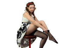 Photo of the woman wearing stockings Royalty Free Stock Photos