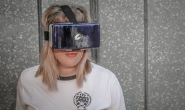 Photo of Woman Wearing Virtual Reality Headset Stock Photos