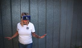 Photo of Woman Wearing Virtual Reality Headset Stock Images
